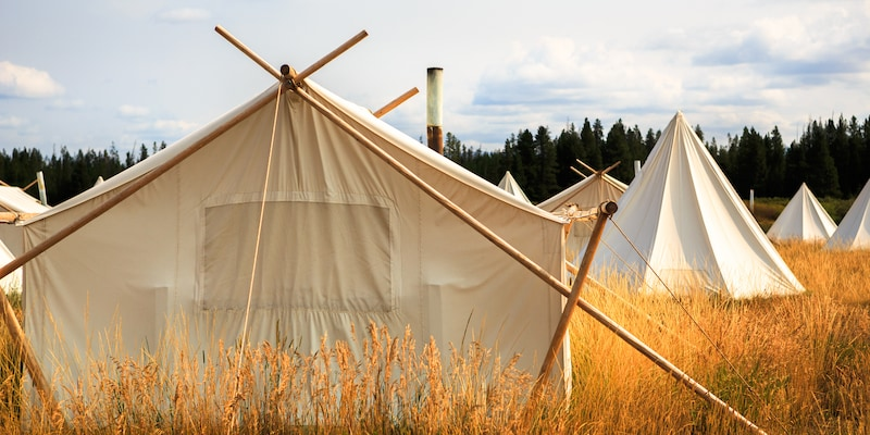 Tents on a sunny field