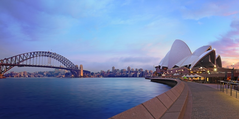 Sydney Harbour with the Sydney Opera House and the Harbour Bridge