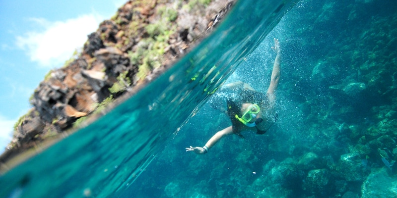 A girl snorkeling under water