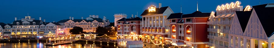 Illuminated exterior of Disney's Boardwalk Resort