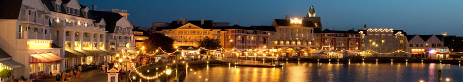 Disney's BoardWalk Inn and Crescent Lake, lit up at night