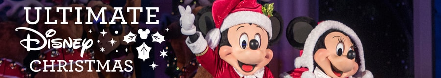 Ultimate Disney Christmas logo and Santa Mickey and Mrs. Claus Minnie