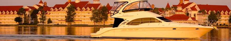 A luxury motorboat on Seven Seas Lagoon