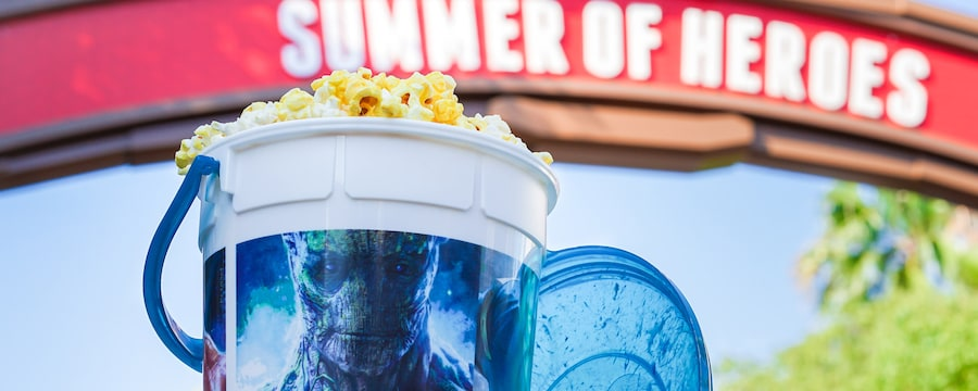 A refillable souvenir bucket featuring Groot from Disneyland's Summer of Heroes