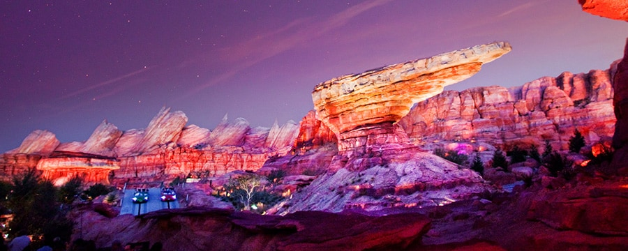 The impressive rock formations of the Radiator Springs Racers attraction
