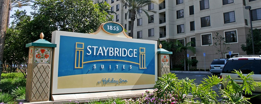 The sign out in front of the Staybridge Suites Anaheim - Resort Area