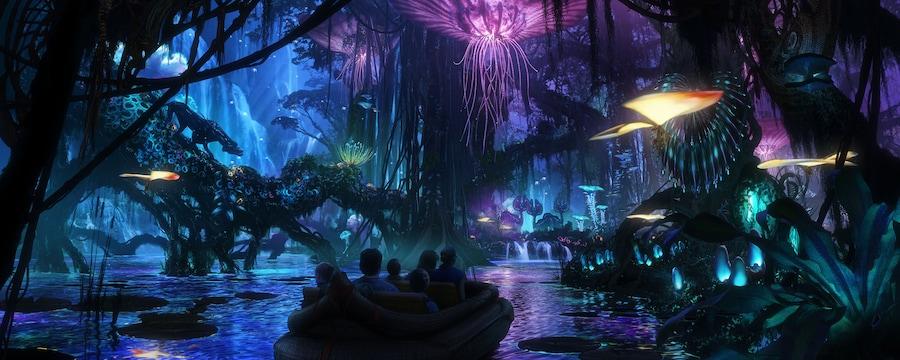Obras de arte conceptual con Visitantes descendiendo por un canal de agua bioluminiscente en Na'vi River Journey