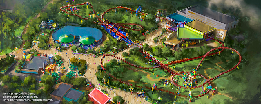 Conceptual artwork featuring the entirety of the upcoming Toy Story Land at Disney's Hollywood Studios