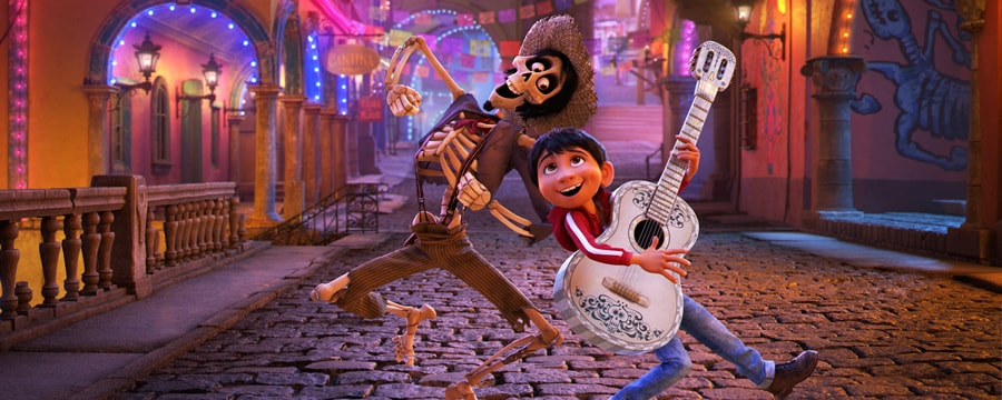Miguel plays guitar and dances next to Hector in Disney Pixars Coco