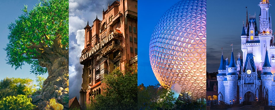 Parcs thématiques Disney's Animal Kingdom, Disney's Hollywood Studios, Epcot et Magic Kingdom.