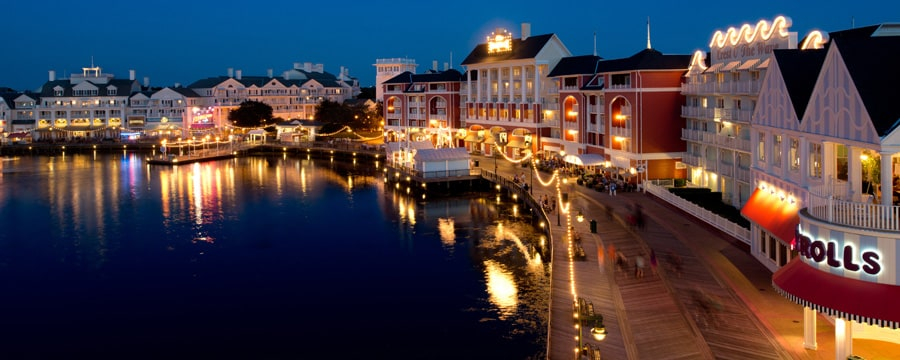 Panoramic View Of Disney S Boardwalk Inn And Crescent Lake Lit Up At Night