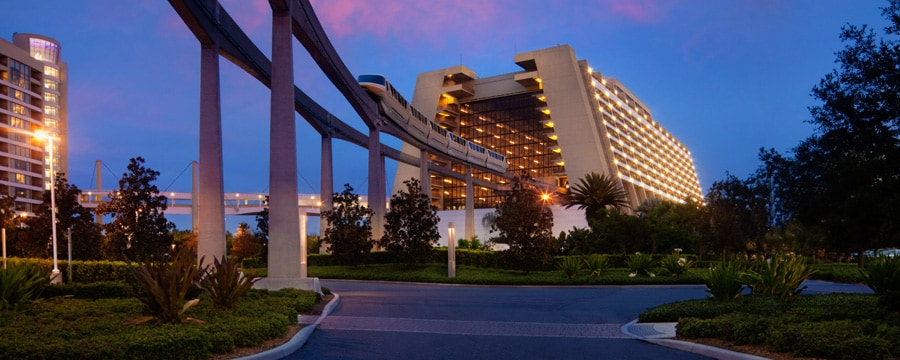 The Monorail Entering The Main Concourse Of Disney S Contemporary Resort At Sunset