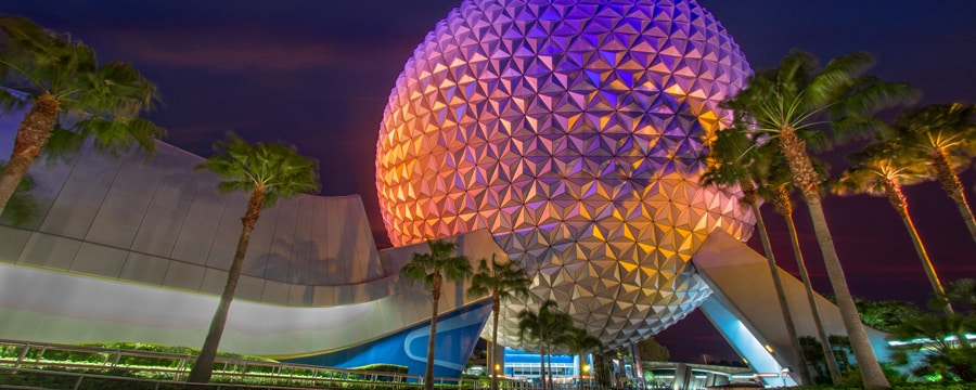 The massive Spaceship Earth geosphere lit up at night