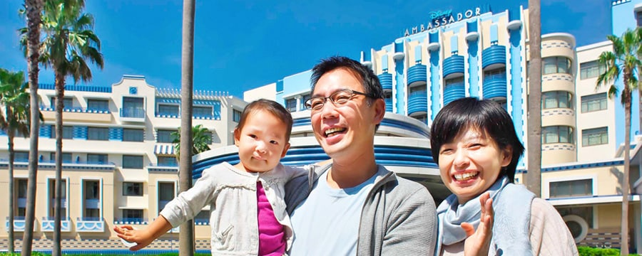 A couple with their young daughter at Disney Ambassador Hotel in Tokyo