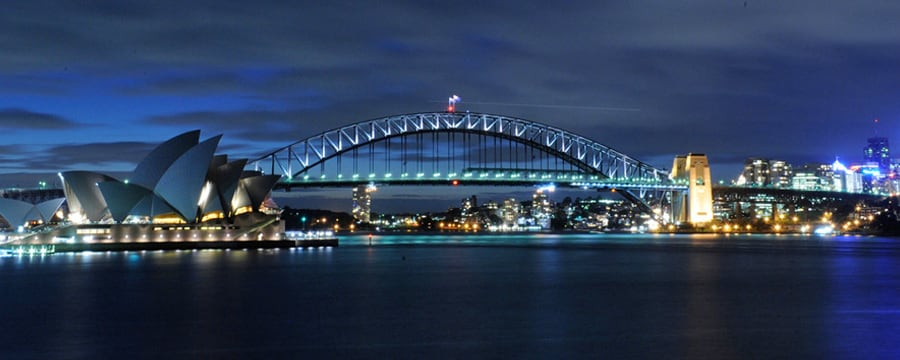 Sydney Harbour Bridge, aglow at night
