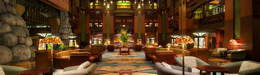 The lobby at Disney's Grand Californian Hotel & Spa