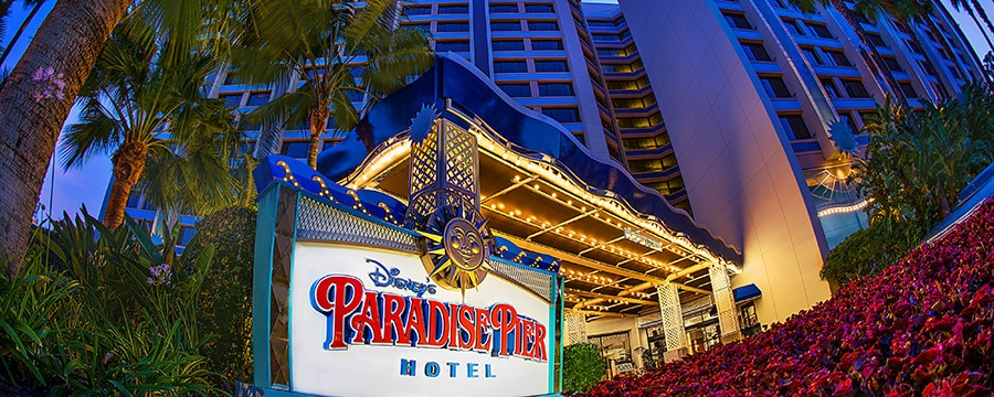 The entrance to Disney's Paradise Pier Hotel in California