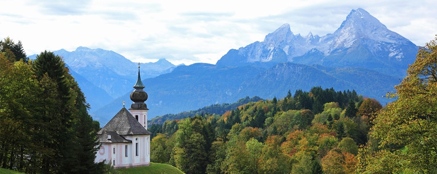 A church in the Bavarian countryside near Berchtesgaden, Germany