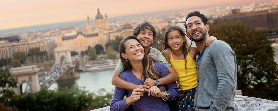 A family in front of the Danube River