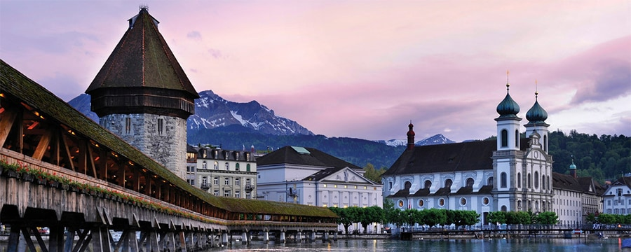 Buildings surrounding Lake Lucerne