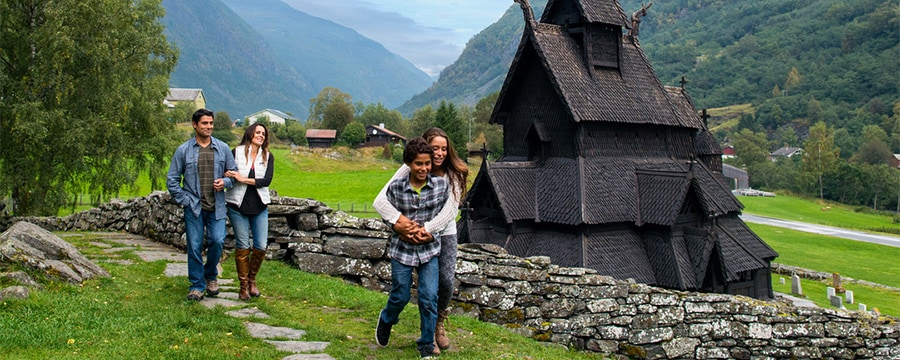 A family at a Norwegian stave church