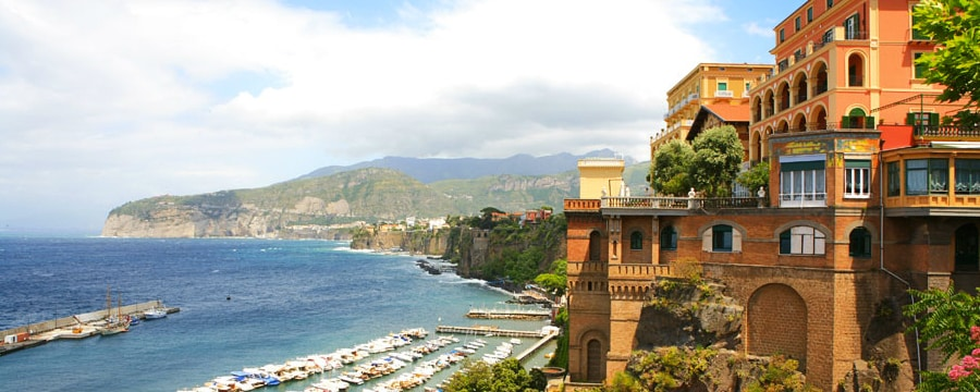 A harbor and rocky coastline in Sorrento, Italy