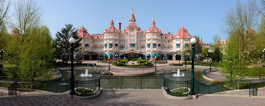 Disneyland Hotel in Paris and its surrounding gardens and fountain