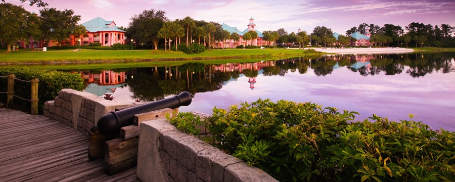 A cannon by the lake at Disney's Caribbean Beach Resort in Florida