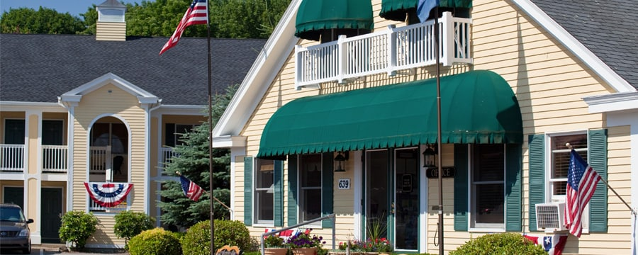 An office building and a guest building at InnSeason Resorts The Falls at Ogunquit in Maine