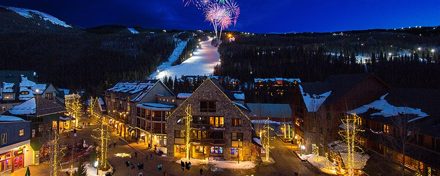 A fireworks display over the ski slope by Keystone Resort in Colorado