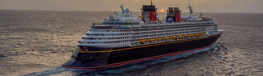The Disney Wonder cruise ship sailing in open waters