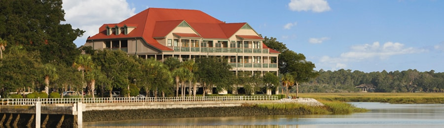 The main building at Disney's Hilton Head Island Resort, overlooking a branch of the Harbor River