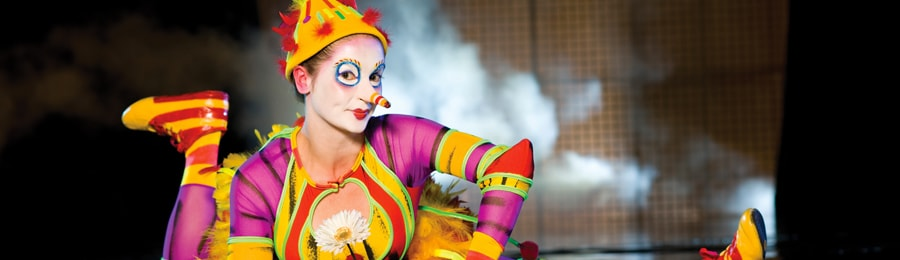 A pretty clown with a beak nose dressed like a colorful bird