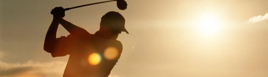 A golfer swinging a club
