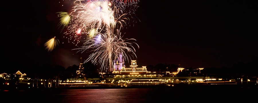 A fireworks display over Magic Kingdom park in Florida