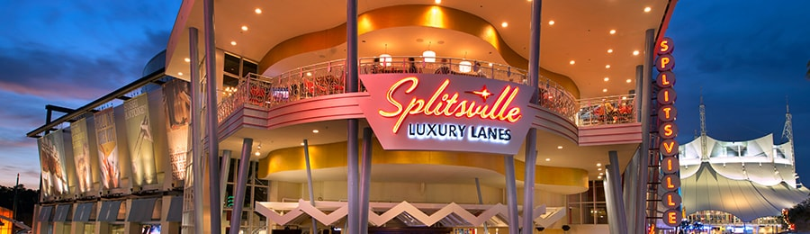 A 2-story modern building with a sign that reads Splitsville Luxury Lanes