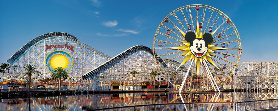The Paradise Pier area roller coaster and ferris wheel at Disney California Adventure Park