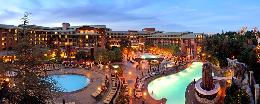The pools and exterior of Disney's Grand Californian Hotel & Spa in Anaheim, California