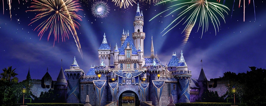 Vibrant fireworks bursting above Sleeping Beauty Castle at the Disneyland Resort Diamond Celebration
