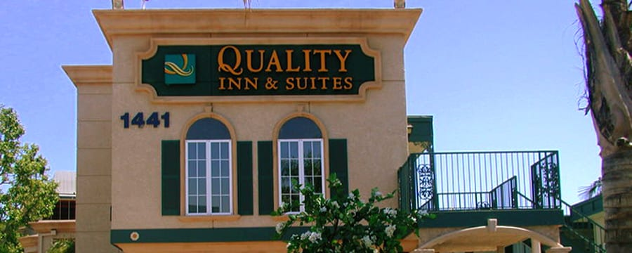 The second story at the front of the Quality Inn & Suites
