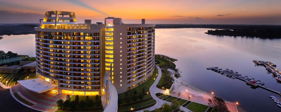 Bay Lake Tower at Disney's Contemporary Resort and Bay Lake at sunset