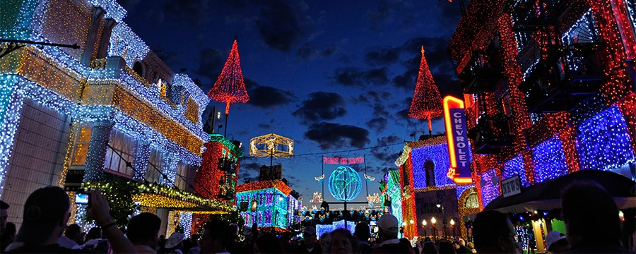 Millions and millions of Christmas lights cover every building for blocks, lighting up the night sky