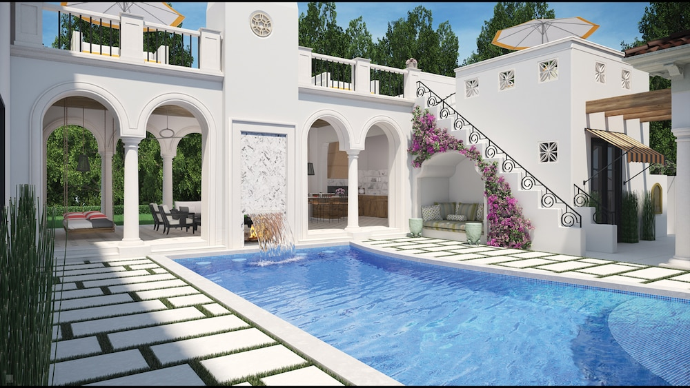 An artist rendering of the outdoor courtyard of a home, with a living area and swimming pool