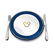 Icon of a plate, fork and knife