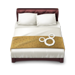 Thumbnail graphic of a queen bed with headboard and a Mickey design