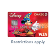 A Chase Disney Premier Visa Card featuring an image of Mickey Mouse casting a magic spell with text below the card that reads 'Restrictions Apply'