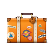 An illustrated suitcase covered in stickers from Disney parks and destinations around the globe