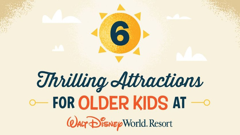An image that reads 6 Thrilling Attractions for Older Kids at Walt Disney World Resort
