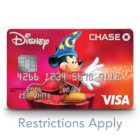 A Disney Visa credit card features an image of Mickey Mouse as the sorcerer from the movie 'Fantasia.'