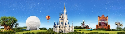 A hot air balloon passes Disneys Animal Kingdom, Epcot, Magic Kingdom Park and Disneys Hollywood Studios